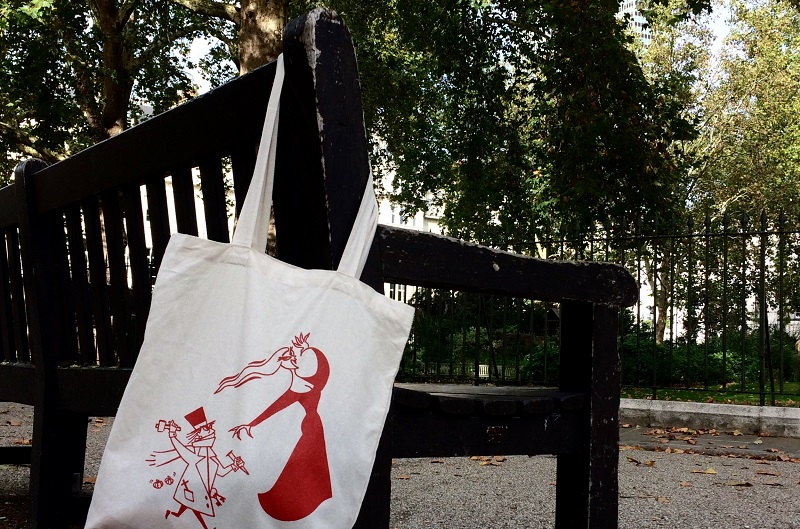 Dracula Tote Bag At it Again! on Bench websize
