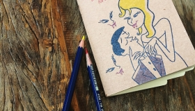 AtitAgain! BooksUpstairs Romping throughDracula notebook with vampire teeth and pencils Instagram