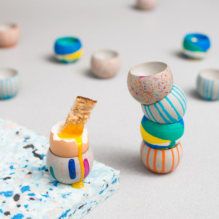 Selection of Egg Cups with Drippy Egg - Blobs, Drippy, Jesmonite, Sprinkles