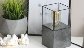 Concrete & Soldered Glass Lamp1